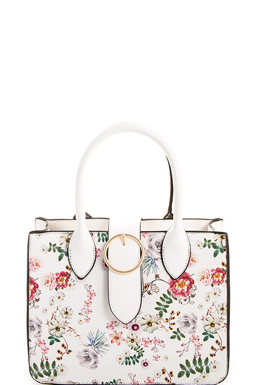 White Floral Satchel Handbag - Chicoras