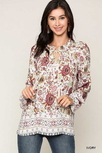 Lightweight Floral Peasant Top - Chicoras