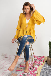 Mustard Tie Front Shirt - Chicoras