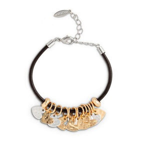 Black Leather Heart Giving Bracelet Silver and Gold - Chicoras