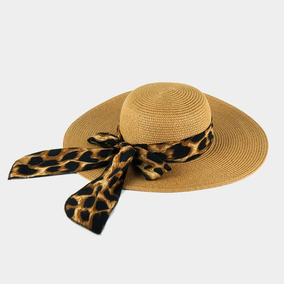 Summer Sun Hat with Leopard Bow - Chicoras