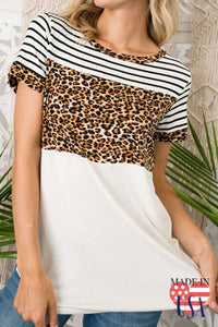 Short Sleeve Leopard Top - Chicoras