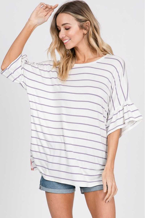 Lilac stripe top with floral Back - Chicoras