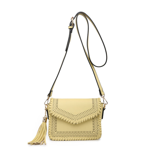 Laser Cut Crossbody Handbag with Tassle - Chicoras