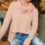 Brushed Smoke Pink Cowl Neck Tunic Top - Chicoras