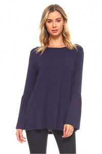 Long Sleeve Navy Bell Sleeve Top - Chicoras