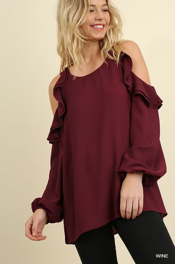 Wine Puff Sleeve Cold Shoulder Blouse - Chicoras