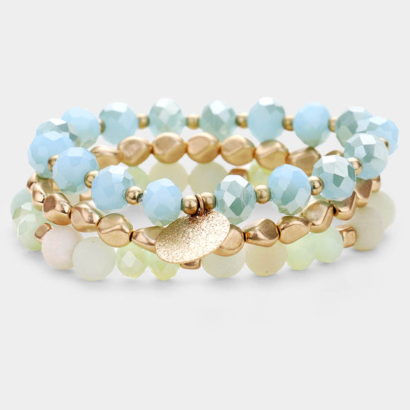 Blue White gold Stretch Bracelets - Chicoras