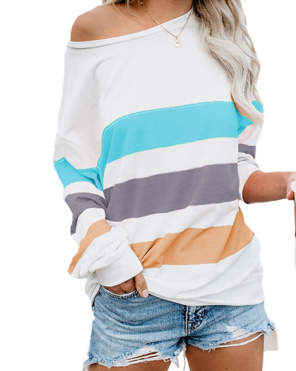 White Wide Stripe Top - Chicoras