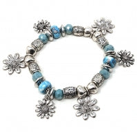 Turquoise Charm Stretch Bracelet - Chicoras