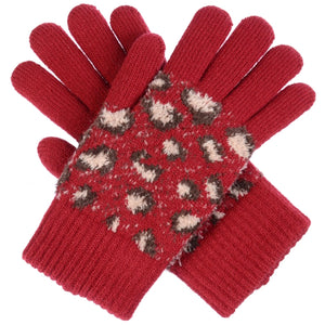 Red Knit Leopard Gloves - Chicoras