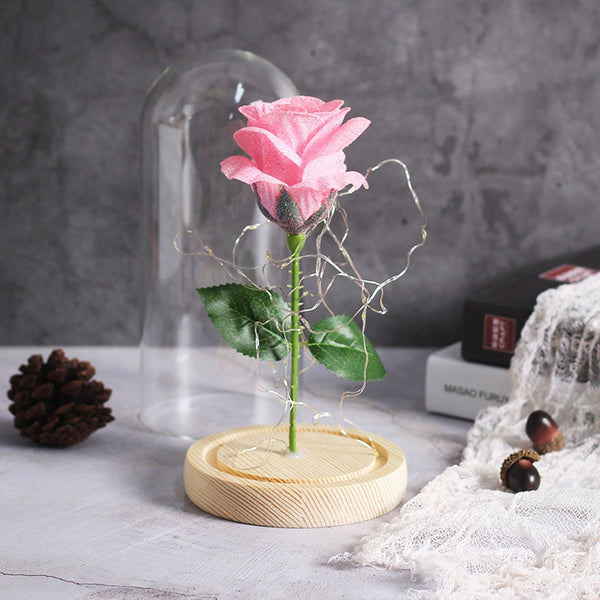 rose eternelle sous cloche rose