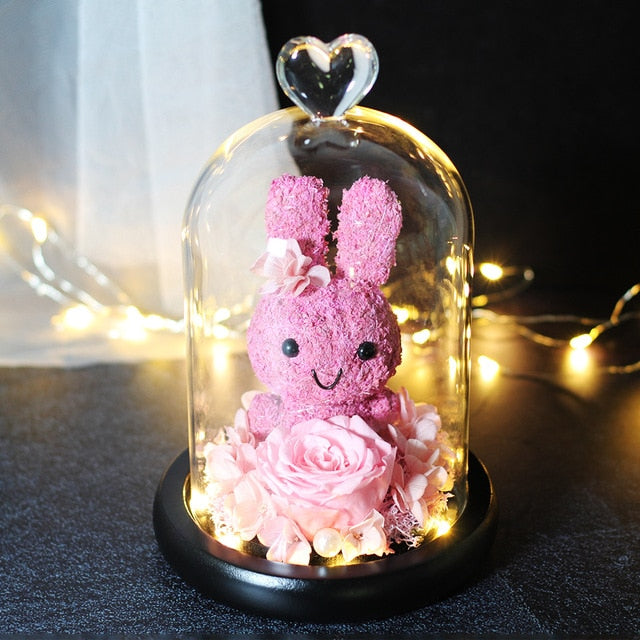 rose eternelle sous cloche lapin rose