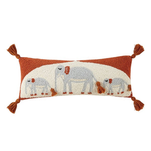 Elephant Trio Hooked Pillow