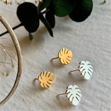 Load image into Gallery viewer, Monstera Stud Earrings