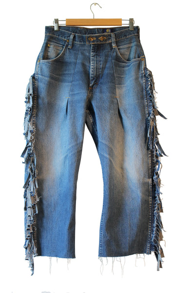High-waisted Fringe Jean
