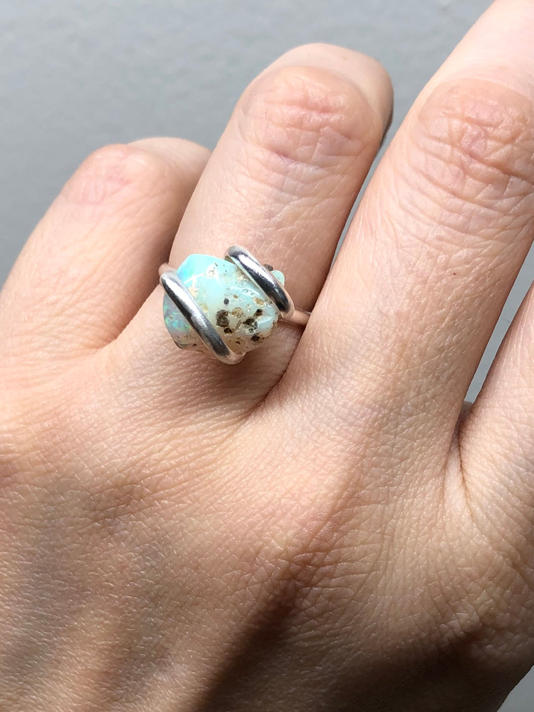 10% OFF at CHECKOUT - Adjustable Sterling Rough Opal Ring