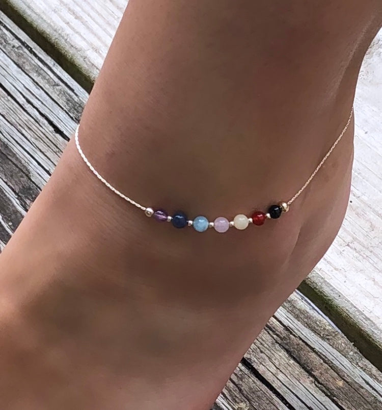Simply Solrayz Sterling Chakra Anklet