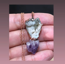 Load image into Gallery viewer, Quartz Geode with Amethyst Pendant in Copper