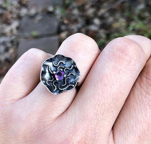 Amethyst Frequency Alignment ring size 6