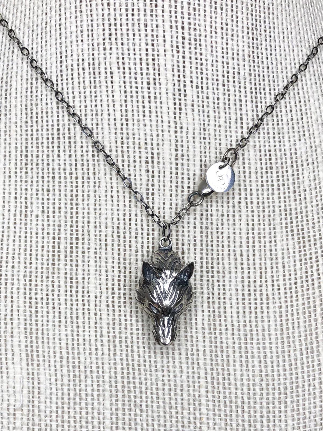 Antiqued Sterling Silver Wolf Pendant