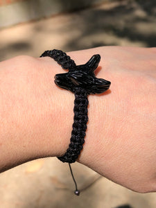 Black Obsidian Wolf Protection Bracelet