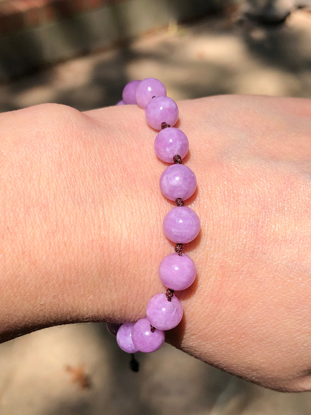Adjustable Kunzite Mala Bracelet