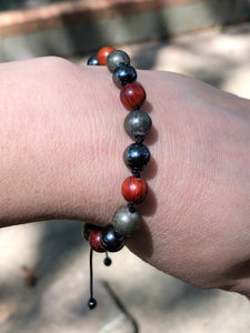 Adjustable Pyrite, Wood and Hematite Mala Bracelet