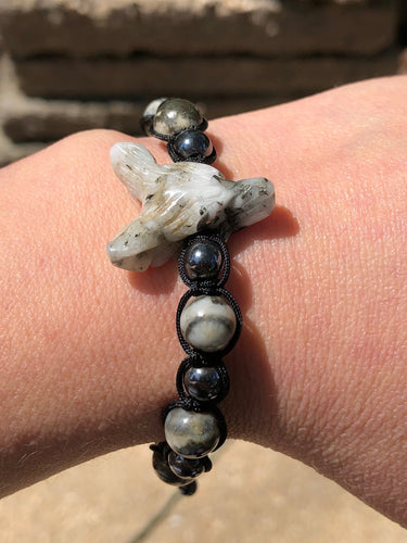 Pyrite Wolf Bracelet with Pyrite and Hematite Beads