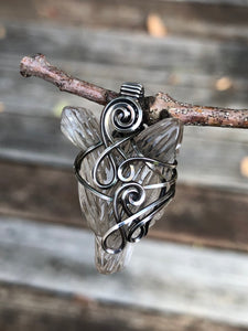 Smoky Quartz Wolf Amulet in Antiqued Sterling Silver