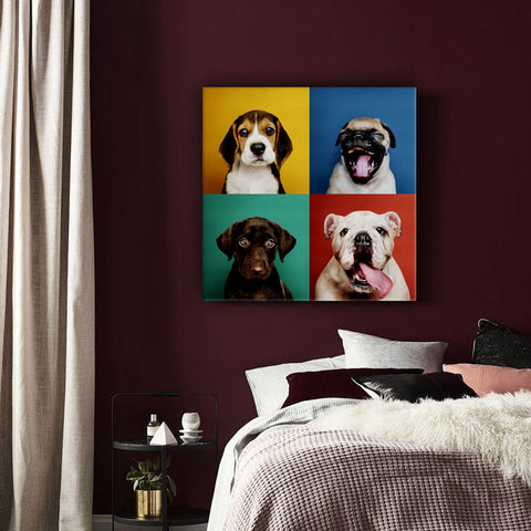 Dog Canvas Combined Set of 4.