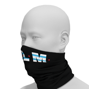 #BLM Black Lives Matter Chicago Flag Face Gaiter Left View PrideMasks.com