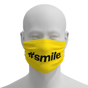Yellow and Black Face Mask featuring #SMILE from Chicago PrideMasks.com - Front View