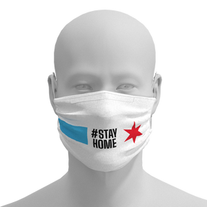 Chicago Flag Face Mask with #STAYHOME worn by Lori Lightfoot Front View