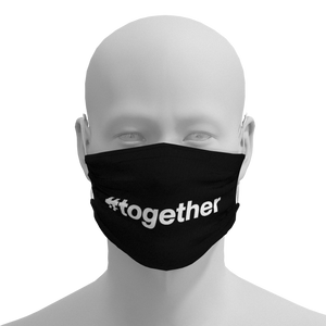 Black and White Face Mask featuring #together from Chicago PrideMasks.com - Front View
