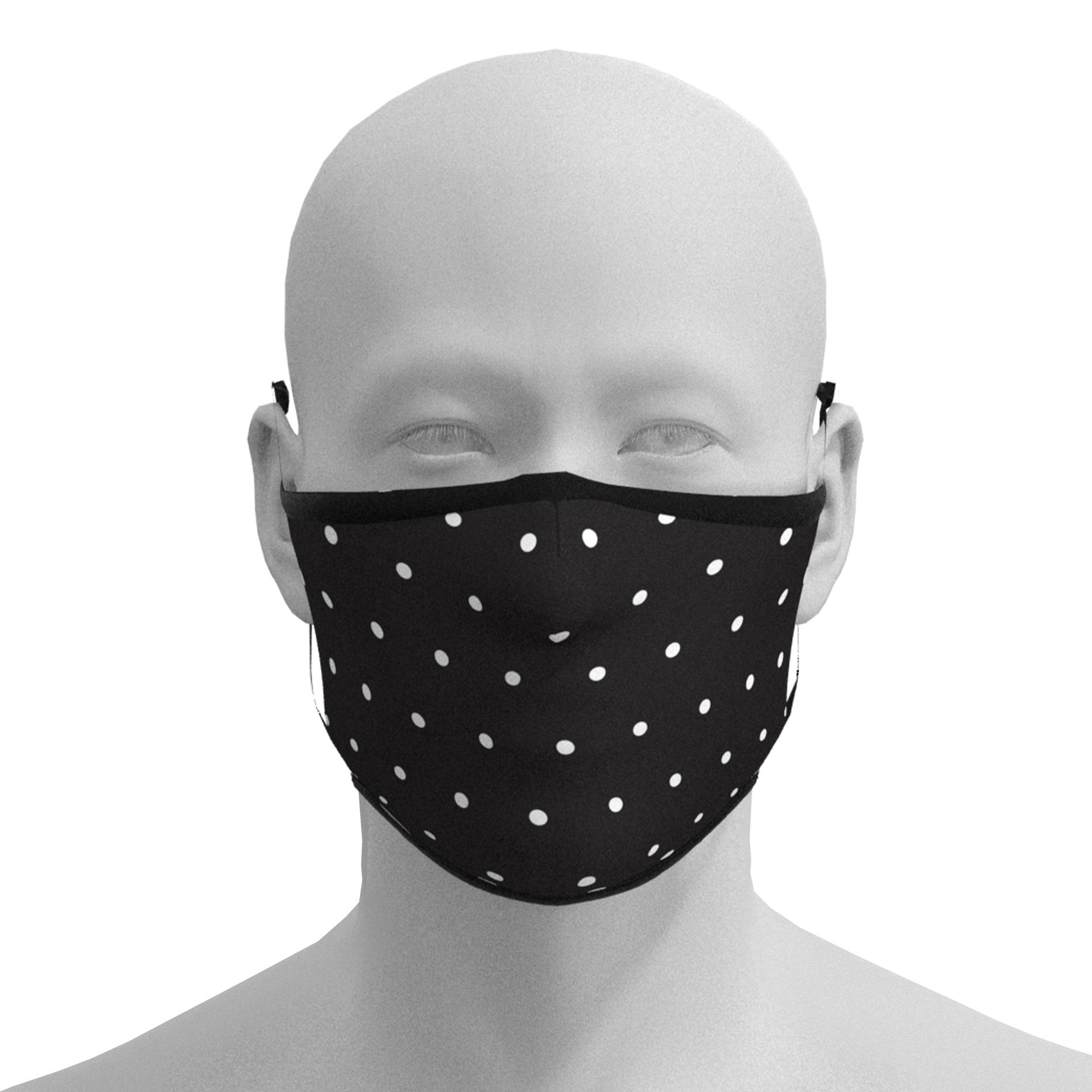 Fitted Black Polkadot Mask