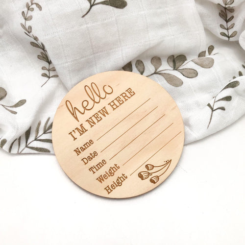 Baby Record Announcement Plaques Large- wooden plaques - Green Lily