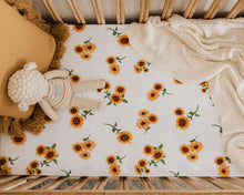 Load image into Gallery viewer, Sunflower l Fitted Cot Sheet - Snuggle Hunny Kids - Green Lily