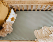 Load image into Gallery viewer, Sage l Fitted Cot Sheet - Snuggle Hunny Kids