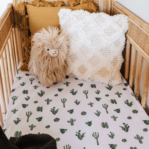 Cactus l Fitted Cot Sheet - Snuggle Hunny Kids - Green Lily