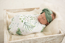 Load image into Gallery viewer, Enchanted l Baby Jersey Wrap & Beanie Set - Snugge Hunny Kids - Green Lily