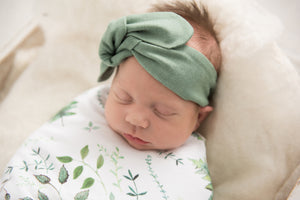 Enchanted l Baby Jersey Wrap & Beanie Set - Snugge Hunny Kids - Green Lily