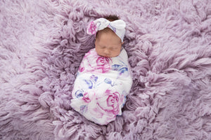 Lilac Skies l Baby Jersey Wrap & Topknot Set - Snugge Hunny Kids - Green Lily