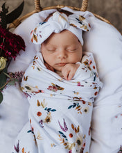 Load image into Gallery viewer, Boho Posy | Baby Jersey Wrap & Topknot Set - Snuggle Hunny Kids