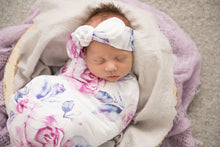 Load image into Gallery viewer, Lilac Skies l Baby Jersey Wrap & Topknot Set - Snugge Hunny Kids - Green Lily