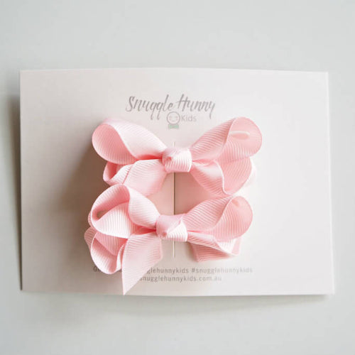 Light Pink Bow Clips - Piggy Tail Set - Green Lily
