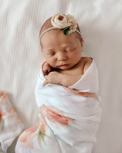 Sorbet Bloom l Organic Muslin Wrap - Green Lily