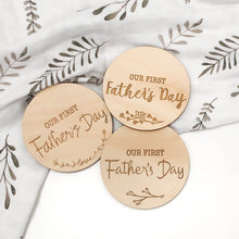 Load image into Gallery viewer, Our First Fathers Day - wooden plaques - Green Lily