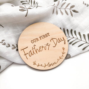 Our First Fathers Day - wooden plaques - Green Lily