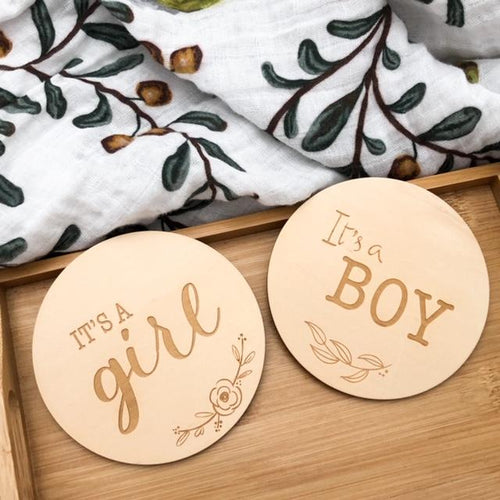 Gender Reveal Wooden Milestone Cards - Green Lily